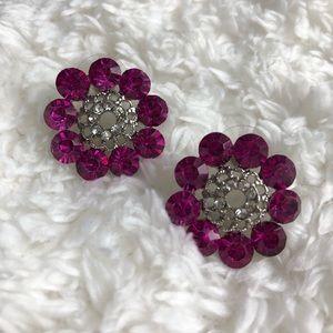 Jewelry - Silvertone and Pink Rhinestone Circle Earrings
